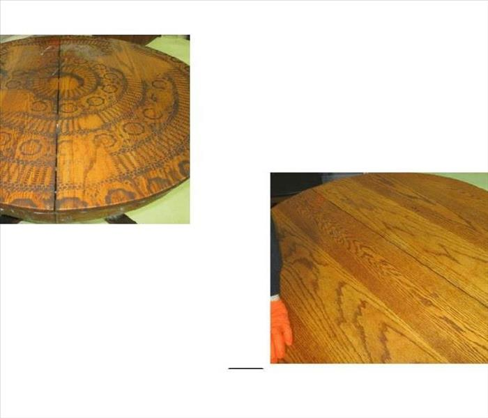 Before & After Soot Damaged Table
